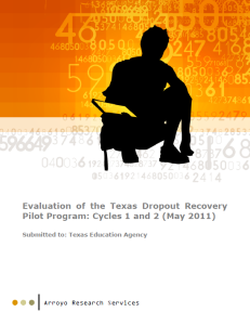 Dropout Recovery Report_Cover_Arroyo_Research_Services